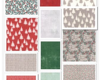 Christmas Fabric Moda Fabrics Winterberry 12 Piece Fat Quarter Set by Kate & Birdie