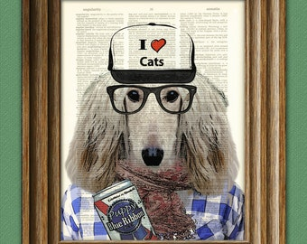 Sal the HIPSTER DOG Afghan with ironic hat and PBR illustration beautifully upcycled dictionary page book art print
