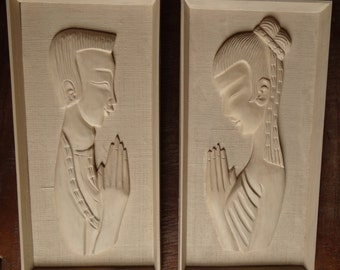 Carved wooden reliefs
