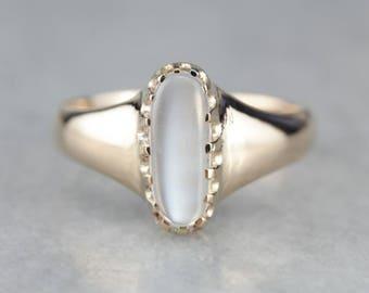 Elongated Antique Men's Moonstone Ring C8V5PY-P