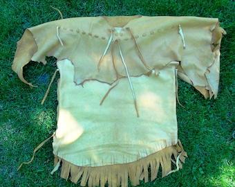 Brain tanned leather shirt, mountain man leather shirt, fringed leather shirt, pioneer leather shirt, Native American shirt, leather shirt