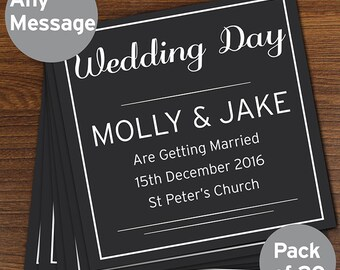Personalised Classic Pack of 20 Cards/Invites Save the Dates