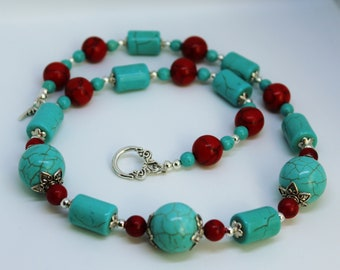 Turquoise and coral necklace, blue and red necklace, gemstone jewelry, Gemstone Necklace, December birthstone