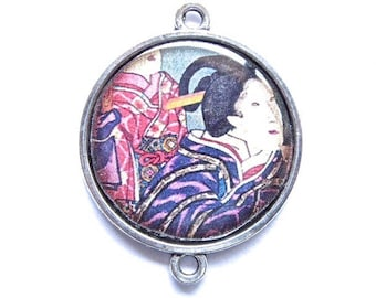 Asian cabochon, Japanese geisha, silver, connector 25 mm in diameter