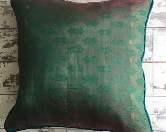 Green Ethnic faux silk cushion cover
