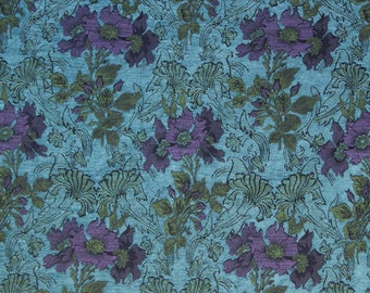 Seamist Poppy Jacquard Woven Floral Upholstery Fabric