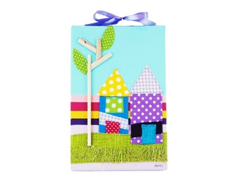 Little houses painting on canvas/ nursery wall decor