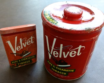 Vintage Tobacco Tins, Velvet Tobacco Tins, Round Tobacco Tin, Pocket Tobacco Tin, Red Tobacco Cans, Set of 2 Tins