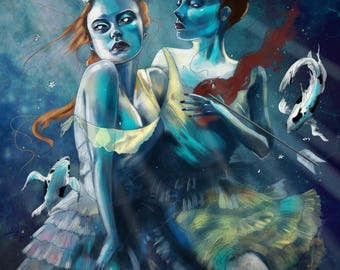 Sisters, Digital print of Original artwork, fantasy, mermaids, A3 size, mystery, beautiful poster