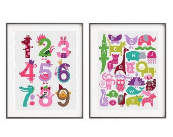 Baby cross stitch pattern Alphabet and number set Baby shower DIY gift Nursery embroidery chart Baby girl birthday gift Printable pdf chart