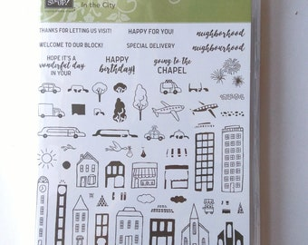 Stampin' Up! Gently Used (Used once) In the City photopolymer Stamp Set Buildings Plane Cars Sentiments