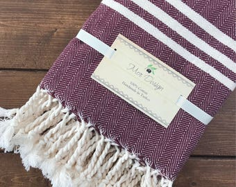 Turkish Hand Towel - Set of Two (Claret Red)