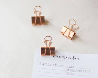 Rose Gold Large Metal Binder Clips - 6 pc