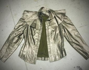 Metallic Space age Edwardian Leather Fantasy jacket -medium
