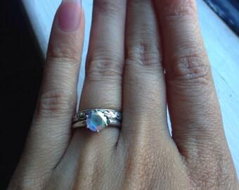 Rainbow Wedding Ring - Rainbow Engagement Ring - Bohemian Wedding Ring - Topaz Wedding Ring Set - Topaz Wedding Band Set