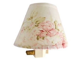 Superior Shabby Cottage Chic Floral Night Light Pink Floral Lamp Shade Kids  Room Nursery