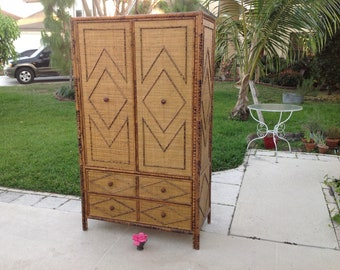 WOVEN RATTAN BURNT Bamboo Armoire /Burnt Bamboo Chinoiserie Armoire / Rattan tortoiseshell Armoire Chippendale Fretwork at Retro Daisy Girl