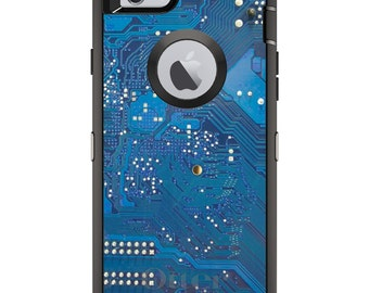 CUSTOM OtterBox Defender Case for Apple iPhone 6 6S 7 8 PLUS X 10 - Personalized Monogram - Blue Circuit Board