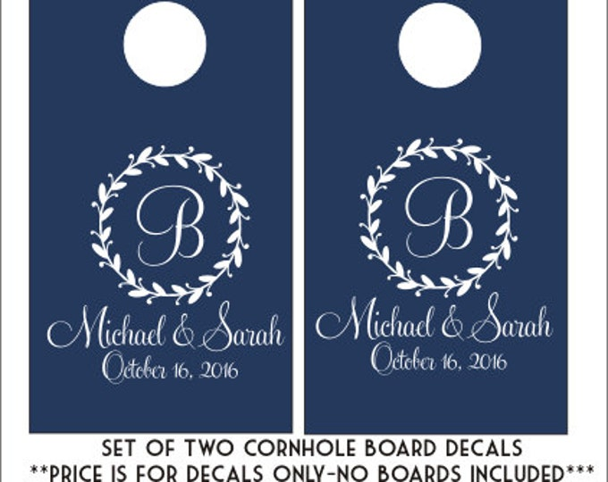 Cornhole Board Deals Set of Two Vinyl Decals Monogram Cornhole Wedding Cornhole Decals Personalized Wedding Decals Wedding Decor Corn Toss