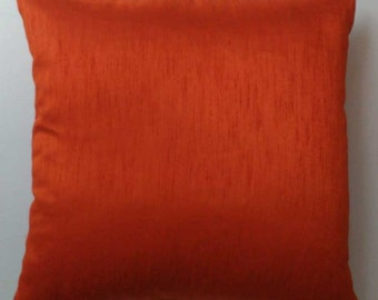 Orange silk pillow. orange throw pillow.  decorative dark orange  cushion cover 16x16 inch