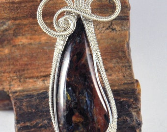 Sterling Silver Woven Wire and Pietersite Pendant with Sterling Silver Chain