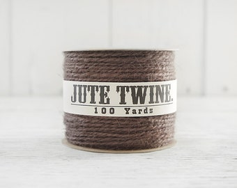 Jute Twine - 100 Yard Spool of Twine, 2-Ply Rustic Craft String, Chocolate Brown