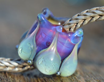 NEW DESIGN - Unique Silver Glass Handmade Lampwork Glass European Charm Bead - SRA - Fits all charm bracelets - Silver Core Options