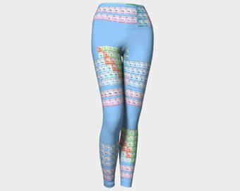 Periodic table of elements chemistry chemist yoga leggings handmade high quality artist original art printed science chic geek wear