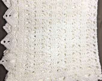 White crochet christening baptism baby blanket. 28x27