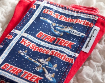 Baby burp cloth - Vintage Star Trek hand dyed bright red burp cloth