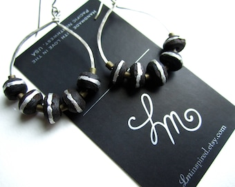 Ebony Wood Prayer Beads on Hammered Sterling Silver Hoop Earrings by LM-inspired