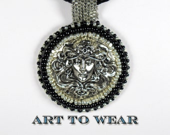 bead embroidered pendant necklace black jewelry kumihimo jewelry silver goddess pendant handmade jewelry silver black boho chic jewelry