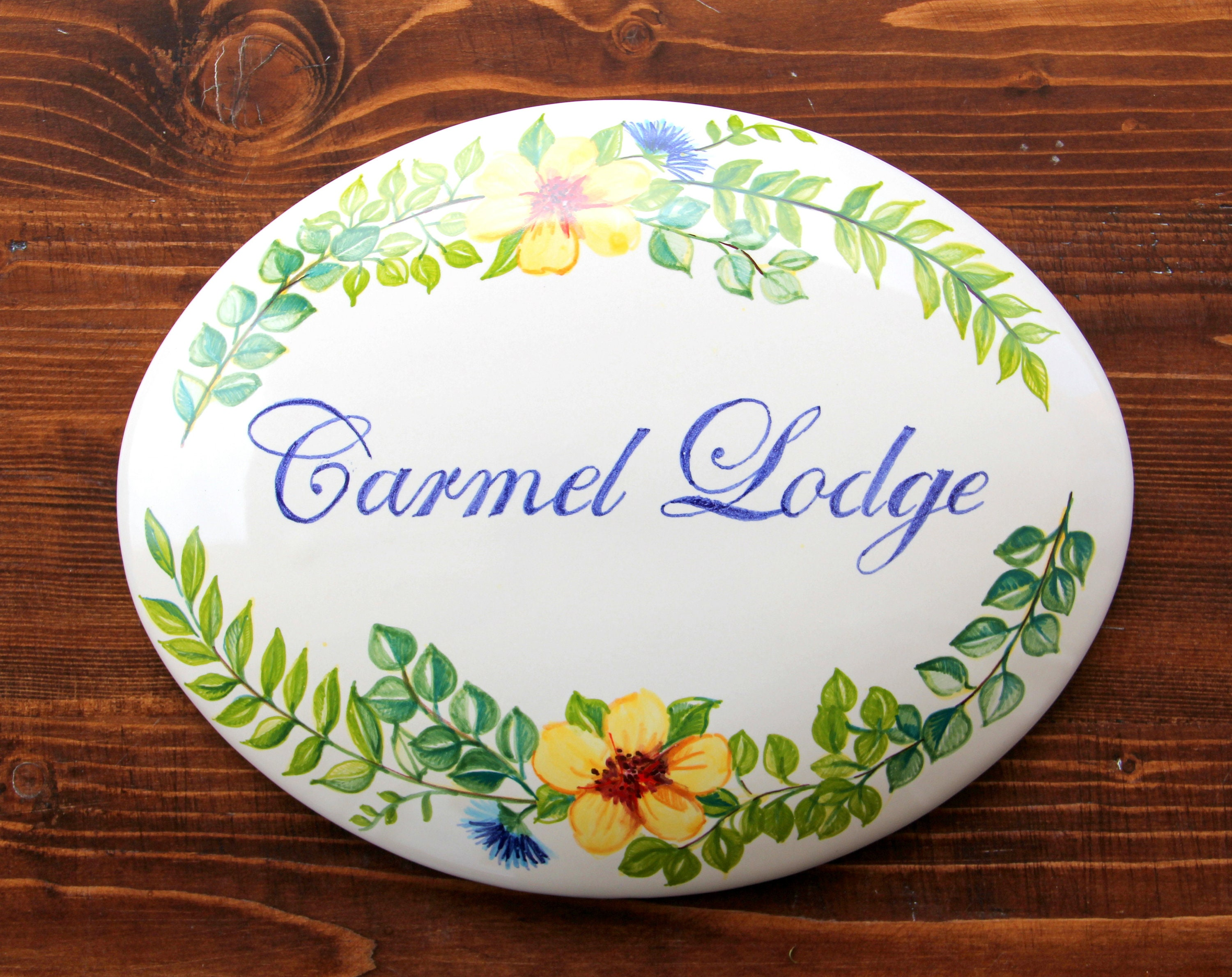 Italy ceramic name sign italian flowers number plaque handpainted italy ceramic name sign italian flowers number plaque handpainted house number signs custom name plaque personalized tile wedding gifts dailygadgetfo Images