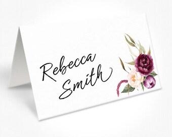 Modern Watercolour Floral Wedding Place Cards, Script Font, Custom Placecards, Free Colour Changes, DEPOSIT | Justine Suite