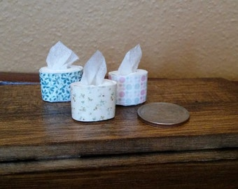 Tiny designer oval tissue boxes in 1:12 scale - set of 2