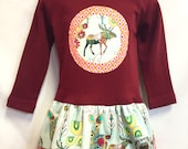 Deer/Moose Applique Girls Dress - Mint and pink on Maro...