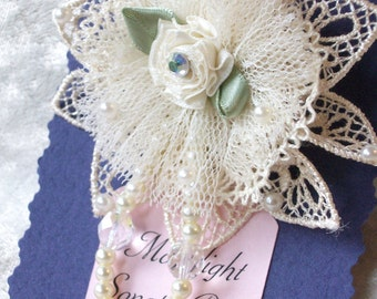 ivory lace & tulle flower pin