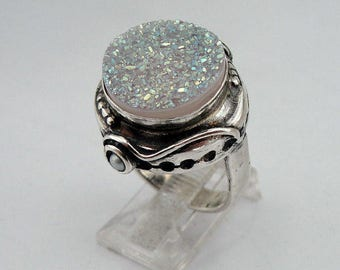 Druzy agate silver ring, Hadar Jewelry Handcrafted Israel Art Sterling Silver Druzy Agate Ring size 8 (H156)