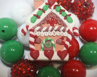 Clay Gingerbread House  Chunky Necklace Mix 20mm