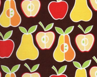 Alexander Henry Apples + Pears Brown Red Yellow Orange Green Kitchen Retro. Sold by half yard.