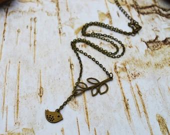 SALE - Bird Leaf Necklace, Antique Bronze Leaf Bird Lariat, Leaf Y-Necklace, Vintage Necklace, Bird Leaf Charm Jewelry Gift