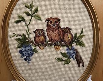 Vintage Framed Owls Needlepoint Gold-tone Frame ~ Free Domestic Shipping
