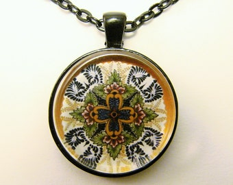 MEXICAN TALAVERA TILE Necklace -- Cross design, Detail from hand-painted Mexican Tile, Friendship token