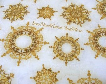 Robert Kaufman's Winter Grandeur~Gold Medallion Design Christmas Ornaments Fabric~By The yd~Holiday~Design 15886