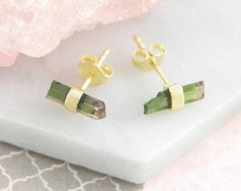 Gold Tourmaline Studs, Stud Earrings, Gemstone Studs, Green Tourmaline, October Birthstone, Gold Studs, Raw Gemstone Earrings, Unusual Gift