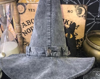 Modern Witch, Warlock, Wizard Hat:  Industrial Gray Corduroy FREE SHIPPING