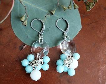 Repurposed Antique Milk Glass Earrings