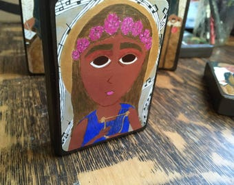 2.5 in X3.5 in -ish Saint Cecelia Byzantine folk icon print on wood