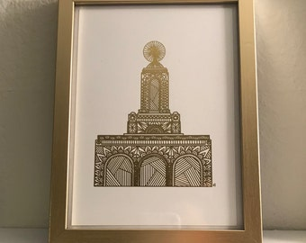 Newport Beach Temple Print - Original Design with Real Gold Foil