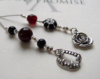 Vampire Bookmark  - Small gift Teen Girl - Jeweled Beaded Book Thong in Red, Black and Silver Rose and Fangs Charms for the Book Journal